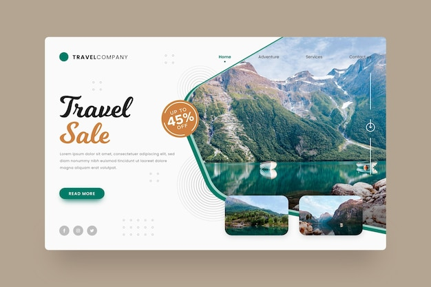 Travel sale landing page with photo