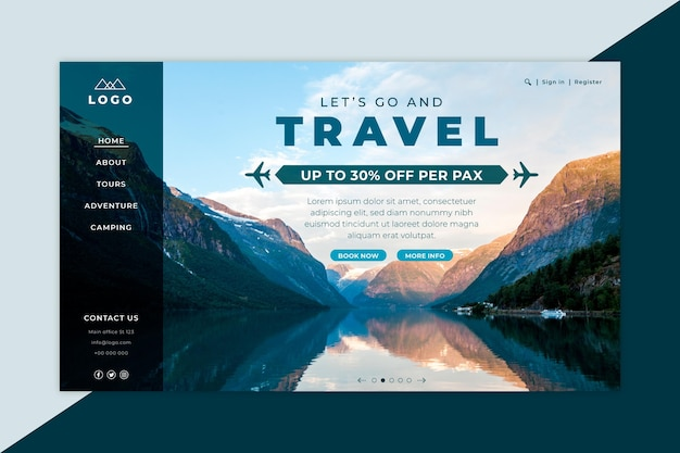 Travel sale landing page with picture