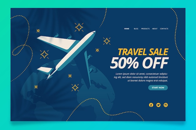 Pagina di destinazione della vendita di viaggi