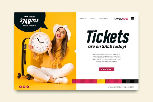 Travel sale template for landing page with photo