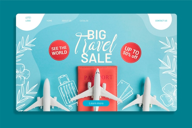 Travel sale web page template with photo of airplanes