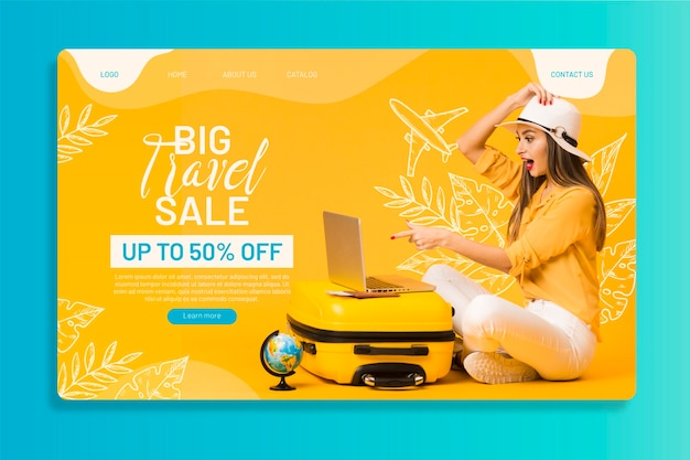 Travel sale web page template with photo