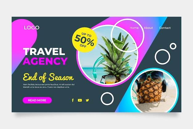 Travel sale web page with photo