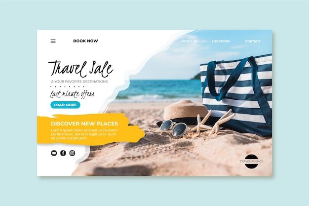Travel sale with photo landing page