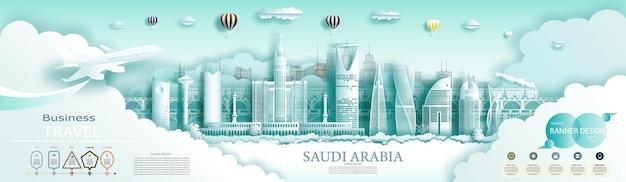 Путешествуйте по саудовской аравии на вершине современного горизонта мира и известной городской архитектуры. с инфографикой. тур саудовской достопримечательностью азии с популярным горизонтом. бумажное искусство
