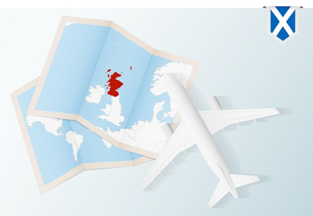 Travel to scotland top view airplane with map and flag of scotland