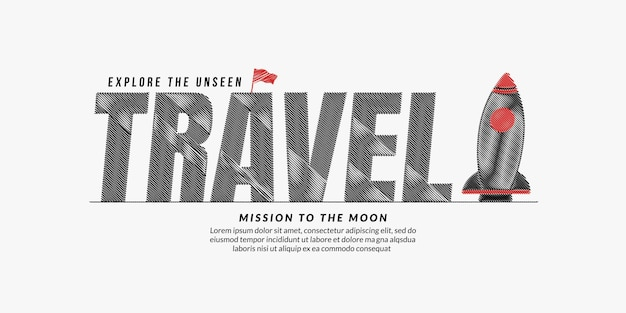 Travel scribble text background travel lettering typography with rocket mission to explore space