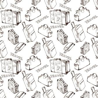 여행 가방과 가방 손으로 그린 여름 휴가 patternvector와 원활한 배경 여행
