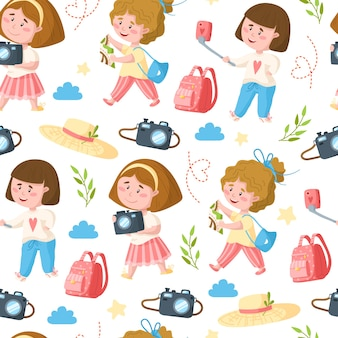 Travel seamless pattern cartoon, traveling girls and trip or vacation things