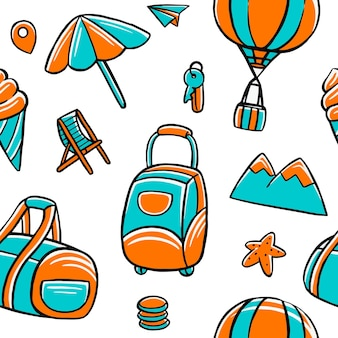 Travel seamless pattern in flat design style