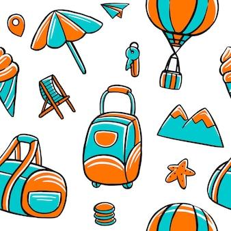평면 디자인 스타일에 여행 완벽 한 패턴