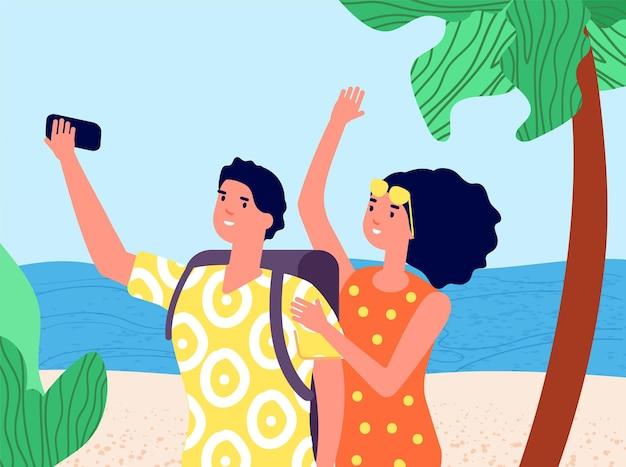 여행 셀카. 여행을 즐기고, 핸드폰을 든 남자 여자. 행복한 젊은 부부는 모바일 사진을 찍습니다. 해변 여름 휴가 프리미엄 벡터