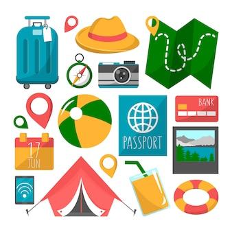 旅行セット。観光シンボルと夏休みのコレクション。カメラ、カクテル、パスポート、携帯電話。マップ要素。