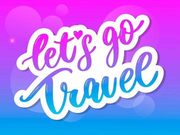 Travel set icons. handwritten lettering. label illustration