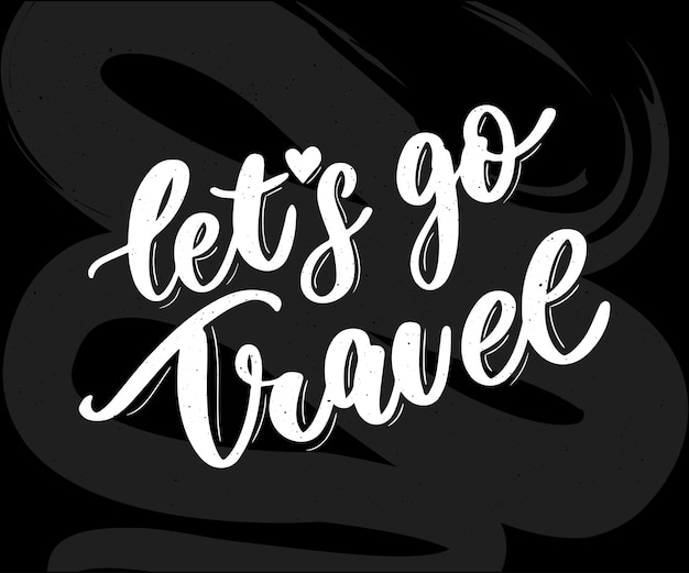 Travel set icons. handwritten lettering