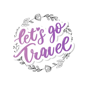 Travel set icons. handwritten lettering