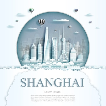 Travel shanghai monument with ancient and city modern building in circle background.