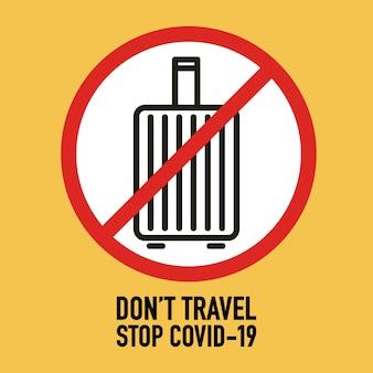 Don't travel signage design concept. stop covid-19 coronavirus novel coronavirus (2019-ncov).