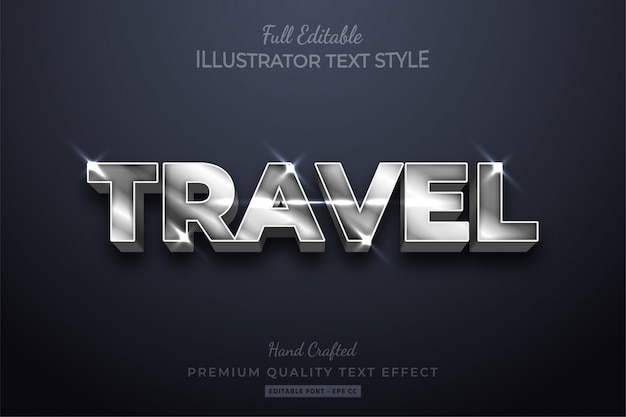 Travel silver editable  text style effect premium