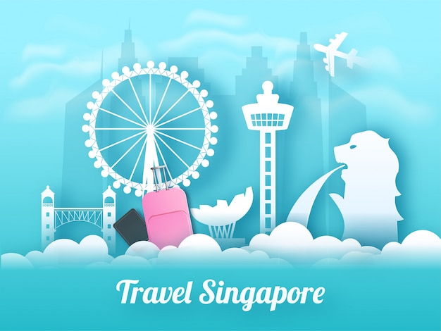 Travel singapore banner or poster design.