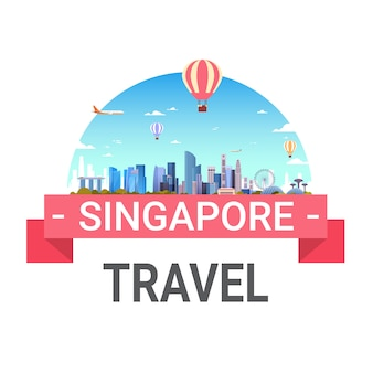 Travel to singapore lettering isolated with famous singaporean landmarks