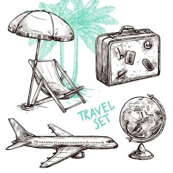 Travel sketch decorative icon set