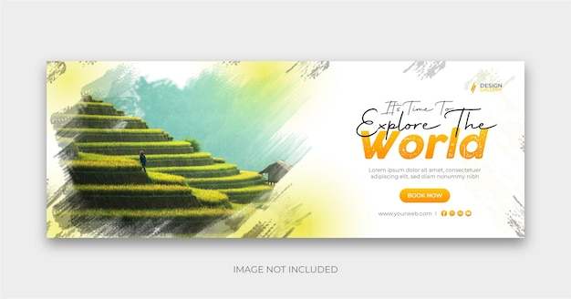 Travel social banner cover design explore the world