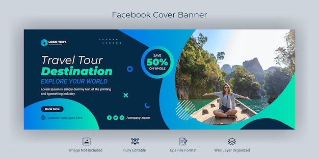旅行ソーシャルメディアfacebookカバーバナーテンプレート