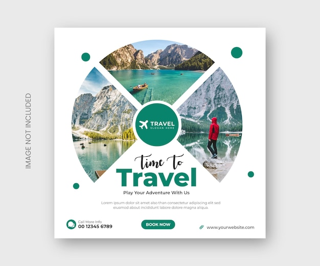 Travel social media post banner or tour holiday vacation instagram post template