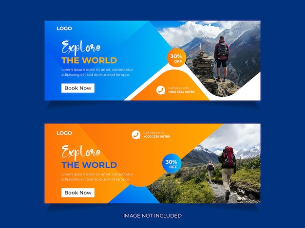 Travel social media post facebook cover or header and  or web banner template design