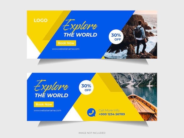 Travel social media post facebook cover or header and web banner template