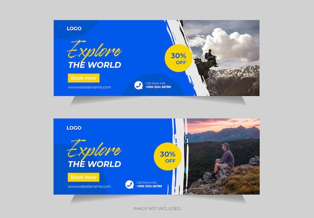Travel social media post facebook cover or header and  or web banner template