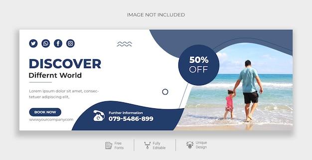 Travel social media post facebook cover page timeline premium vector
