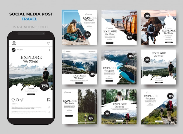 Travel social media post feed set template