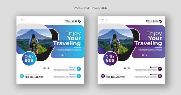 Шаблон квадратного баннера для путешествий в социальных сетях
