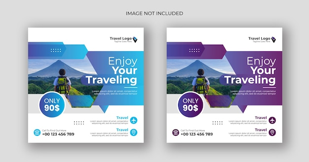 Travel social media post square banner template