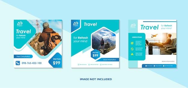 Сообщение о путешествии в социальных сетях шаблон баннера для туристической рекламы
