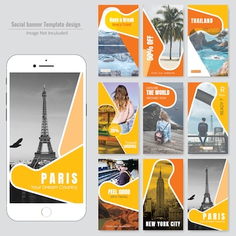 Travel social media post template Premium Vector