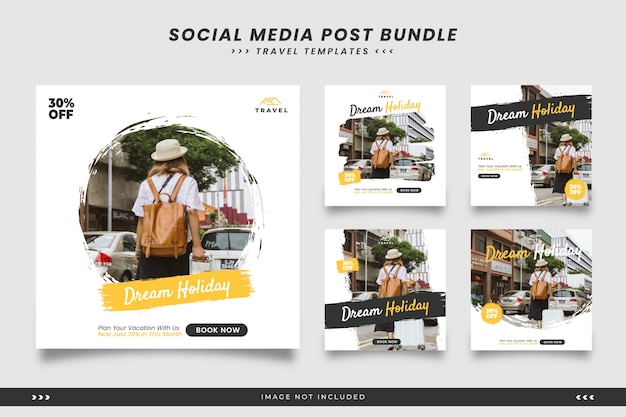 Travel social media post templates with brush