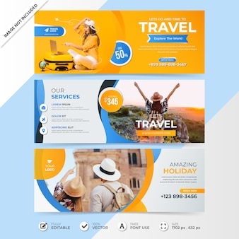Travel social media sale timeline cover banner template with photo