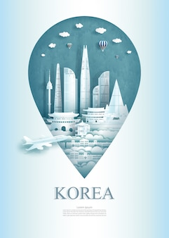 Travel south korea architecture monument pin in asia with ancient.