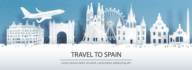 Travel to spain with famous landmark.