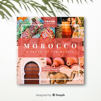 Travel square banner with photo