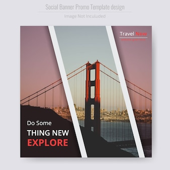 Travel square flyer template
