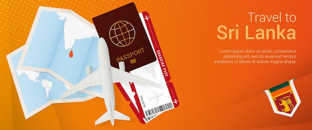 Travel to sri lanka pop-under banner. trip banner with passport, tickets, airplane, boarding pass, map and flag of sri lanka.