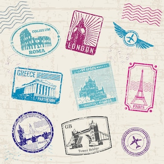 Travel stamps set with europe countries landmarks.