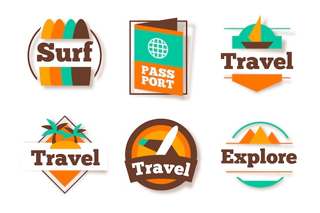 Travel sticker assortment in retro style