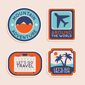 Travel sticker collection in 70s style