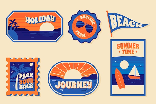 Travel sticker collection concept