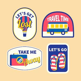 Коллекция стикеров travel в стиле 70-х годов